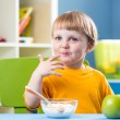 Breakfast for kid boy. Baby eating healthy food. — Stock Photo