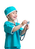 Adorable child boy uniformed as doctor isolated on white backgro — Stock Photo