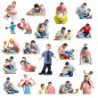 Babies and kids collage  with dads. Paternity and fatherhood con — Stock Photo #47531153