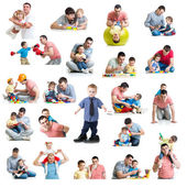 Babies and kids collage  with dads. Paternity and fatherhood con — Stock Photo