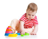 Baby playing with cup toys — Stock Photo