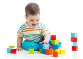 Toddler boy building block toys — Stock Photo