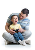Child boy and his father play with a playstation together — Stock Photo