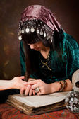 Palmistry hand-reading — Stock Photo