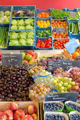 Fruits and vegetable display — Stock Photo