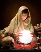 Astrology gypsy with crystal ball — Stock Photo