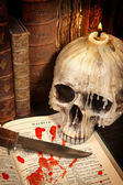 Halloween book and skull 3 — Stock Photo