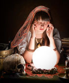 Fortuneteller with crystal ball — Stock Photo