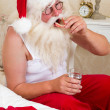Santa with false teeth — Stock Photo