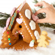 Stock Photo: Hand decorating gingerbread house
