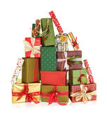 Mountain of christmas presents — Stock Photo