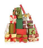 Mountain of christmas presents — Stock Photo
