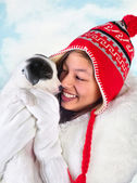 Fun with a puppy — Stock Photo