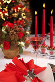 Red christmas table 2 — Stock Photo