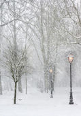 Lampposts in the snow — Stock Photo