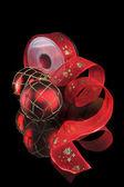 Vánoční koule a stuhy — Stock fotografie