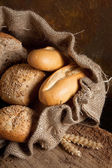 Jute bag with bread — Stock Photo