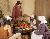 Thanksgiving pilgrim family — Stock Photo
