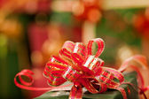 Christmas ribbons and lights — Stock Photo