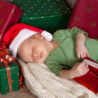 Stock Photo: Sleepy christmas baby