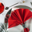 Festive table in red and white 1 — Stock Photo