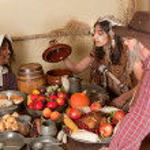 Thanksgiving pilgrim dinner — Stock Photo