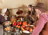 Thanksgiving pilgrim dinner — Stock Photo