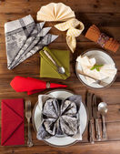 Collection of napkin folding — Stock Photo