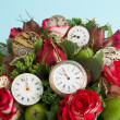 Stock Photo: Flowers and watches