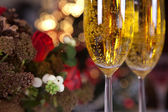 Champagne and christmas tree 1 — Stock Photo
