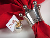 Festive table in red and white 9 — Stock Photo
