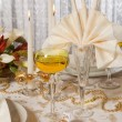 Christmas table in gold 1 — Stock Photo