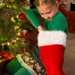 Stock Photo: Christmas stocking surprise