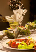рождественский ужин с омаром — Стоковое фото