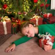 Girl sleeping with christmas — Photo