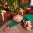 Girl sleeping with christmas — Stock Photo