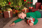 Girl sleeping with christmas — Стоковое фото