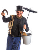 Isolated chimney sweep with horsehoe — Stock Photo