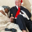 Sleeping wife and drunk husband — Stock Photo