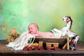 Vintage toys and little baby — Foto de Stock