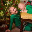 Child fun with christmas — Stock Photo