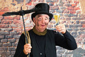 Chimney sweep new year toast — Stock Photo