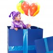 Harlequin with balloons — Stock Photo