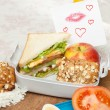 Stock Photo: Love note in lunchbox