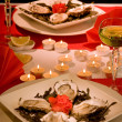 Romantic oysters - Foto Stock
