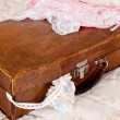 Grungy suitcase and lace lingerie — Stock Photo #18503673