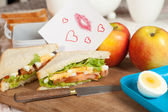 Lunchbox with love note — Stock Photo