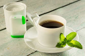 Coffee with stevia sweetener — Stock Photo