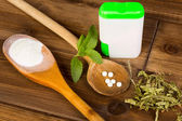 Stevia tabs and powder — Stock Photo