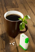 Stevia sweetener in your coffee — Stock Photo